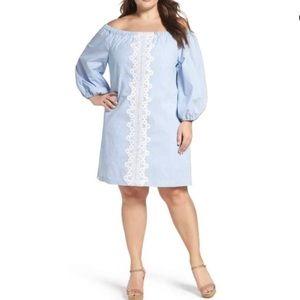 Seersucker Lace Trim Off The Shoulder Dress